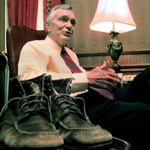 "Florida Gov. Lawton Chiles, with his famous ""Walkin Lawton"" boots (AP Photo / Mark Foley)"